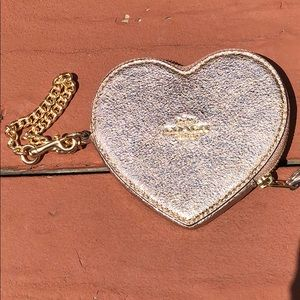 NWT COACH METALLIC ROSE GOLD HEART COIN PURSE